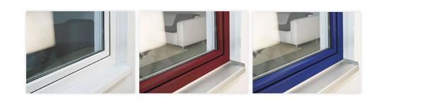 Farbige Profile Fenster und Türen